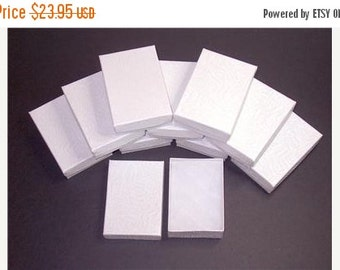 Halloween Stock Up Sale 100 Pack White Color Cotton Filled 3.25 X 2.25 X 1 Inch Size Retail Jewelry Gift Presentation Boxes