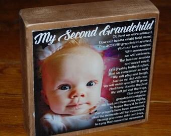 Second Grandchild Poem for GRANDMA- PERSONALIZED Larger Photo Poem Blocks