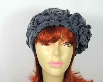 Beret Tam Lace Beret Gray and Black Slouchy Beret Slouchy Tam Hats for Women Hair Loss Turbans Chemo Turbans Slouchy Hats for Hair Loss