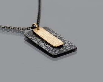 Oxidized Silver and 14k Gold Necklace, dainty necklace, modern necklace, etched sterling silver and hammered gold pendant