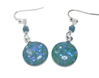 Aqua Blue Dichroic Earrings- polymer clay jewelry- Resin Earrings-Statement Earrings- Boho Earrings- Dangle Earrings