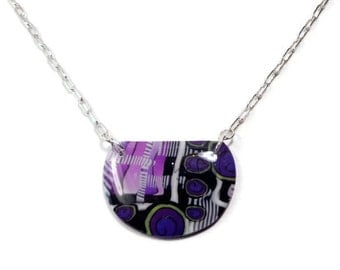 Purple Abstract Necklace- polymer clay Jewelry- Resin Pendant- Pendant Necklace- Gifts for Her