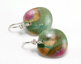 Ruby Zoisite cabochon 925 silver earrings, dangle gemstone earrings, Gift for her ... Gift Earrings
