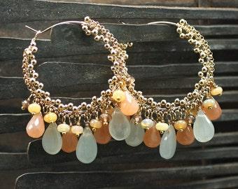 Milky Aquamarine, Peach Moonstone, Andalusite, Ethiopian Opal cluster earrings, 14k gold filled hoops ... MALIE Earrings
