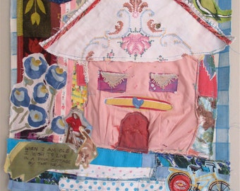PINK COTTAGE by the SEA - Fabric Collage Folk Art - Recycled Vintage Materials - Beach Girl  Assemblage / mybonny random scraps