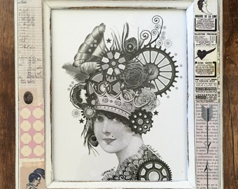 "Free Shipping Framed Steampunk Digital Art Collage  ""Leonora"""