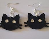 Cat jewelry, Cat earrings, Kitty, Kitty earrings, Ready to ship, Black cat, Black earrings, Meow, MsFormaldehyde