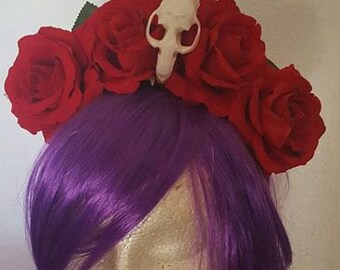 Skull, Skull crown, Floral crown, Red rose crown, Flower crown, Red rose, Rose crown, Boho, MsFormaldehyde, Ready to ship
