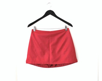 90s CLUB skort early 1990s vintage METALLIC red club kid mini skirt small