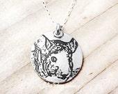 Chinchilla necklace, silver chinchilla jewelry, chinchilla pendant, remembrance jewelry