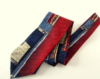 Vintage 1980's Bugatti Tie - Red and Blue Abstract Italian Silk Tie