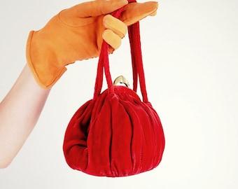30s Burnt Orange Velvet Handbag
