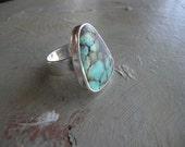 vintage large turquoise and sterling ring, size 9.5, big triangular-shaped bezel set turquoise ring, unisex