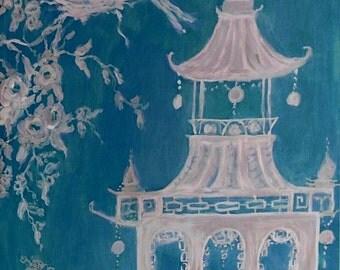 Neo Asian Toile Art ~ Blue  Chinoiserie Print ~ Chinoiserie Art Decor ~ Toile Decor ~ Home Decor Wall Art
