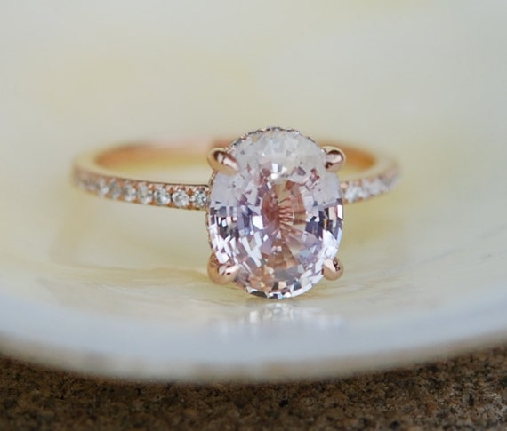 Engagement ring diamond ring 3.58ct Lavender Peach oval sapphire ring. Engagement ring by Eidelprecious