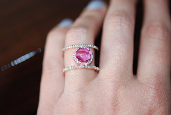 Double ring. Pink sapphire double ring. Raspberry pink sapphire ring. 14k rose gold diamond ring. Rose cut sapphire ring.