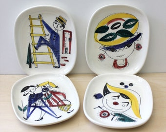 Vintage Scandinavian modern Stavangerflint Pottery Norway set of four small plates. Inger Waage design. Rare.