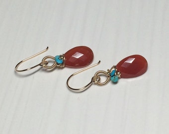 Red Chalcedony & Turquoise Earrings with Gold Fill Wire