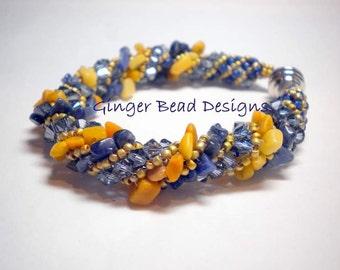 Blue and Yellow Swarovski Russian Spiral Beaded Bracelet
