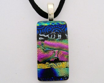 Dichroic glass pendant necklace.