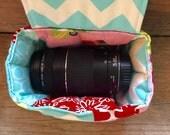 Cozy lens pod to wrap your extra camera lens snug --- custom made to fit