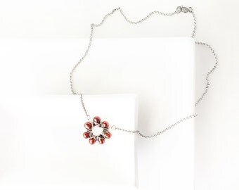 Rust flower pearl necklace, baroque cultured freshwater pearls, wirewrapped necklace, stainless steel chain - rust