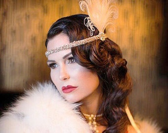 Ivory Peacock Feather Headband, 1920s Flapper, Swarovski Crystal, Hair Accessory, Great Gatsby Party, Costume Headpiece