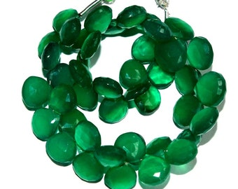 """Full 7"""" 44 Pcs Natural Green Onyx Faceted Heart Briolettes Size 8-9 mm Gemstone Briolette Semiprecious Beads TB09"""