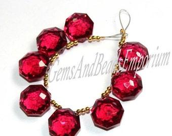 55% OFF SALE 8 Pcs 4 Pair 15x15 mm AAA Rubellite Pink Quartz Faceted Hexagon Briolette, Gemstone Pair, Loose Gemstone Beads Earrin Pair
