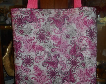 Paisley Pink Tote Bag Floral Retro Handmade Purse Limited