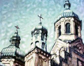 St. Nikolai in Ukranian Village - Polaroid SX-70 Manipulation - 8x8 Fine Art Photograph, Wall Decor