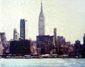 New York City Skyline  - Polaroid SX-70 Manipulation - 8x8 Fine Art Photograph, Wall Decor