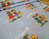 Vintage Folk Friends are Nice Boy and Girl Children's Cotton Fabric Yardage
