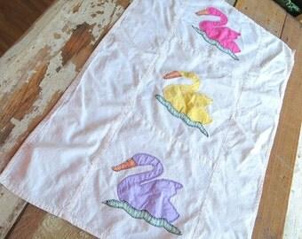 SALE -- Vintage Embroidered and Appliqued Swan Grain Sack Towel