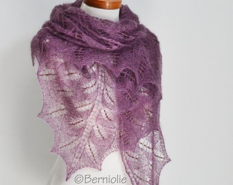Purple, plum lace knitted shawl with 1050 glass beads, P453