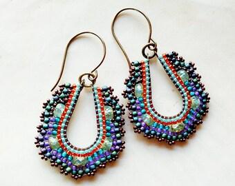 Small Peacock Hoop Earrings, Art Deco Inspired Small Hoop Earring, Teardrop Teal and Aqua Earring