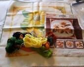Vintage Stamped Cross Stitch Kit Regina Pettina Floral Kit on Herta Cloth