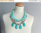 Turquoise mint green statement necklace