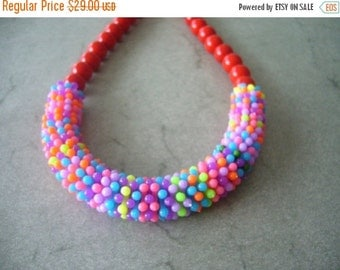 Red and colours chunky necklace