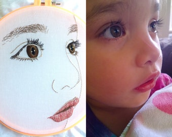 Custom hand embroidered portrait of your child - artisanal hand embroidery hoop art, bo betsy, bobetsy, bespoke portrait, grandparent gift