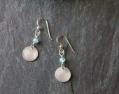 Apatite and Brushed Sterling Silver Disc Earrings - Matte Finish - Circles - Everyday - Classic Modern - Handmade - Aqua Blue Green