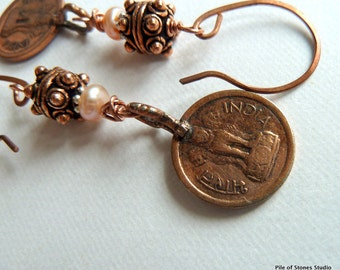 Earrings, Vintage India Coins, Soft Peach-Pink Freshwater Button Pearls, Dotted Copper Barrel Beads, Sterling Silver, Long Eye-Catching OOAK