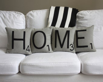 HOME Scrabble Pillows - CASES ONLY // Scrabble Tile Pillows // Letter Pillow Cushions