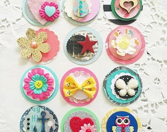 Cute Circle Embellishments - Paper Pretties set of 10, flowers, butterflies, hearts, Papercrafts, Scrapbooks, Cards
