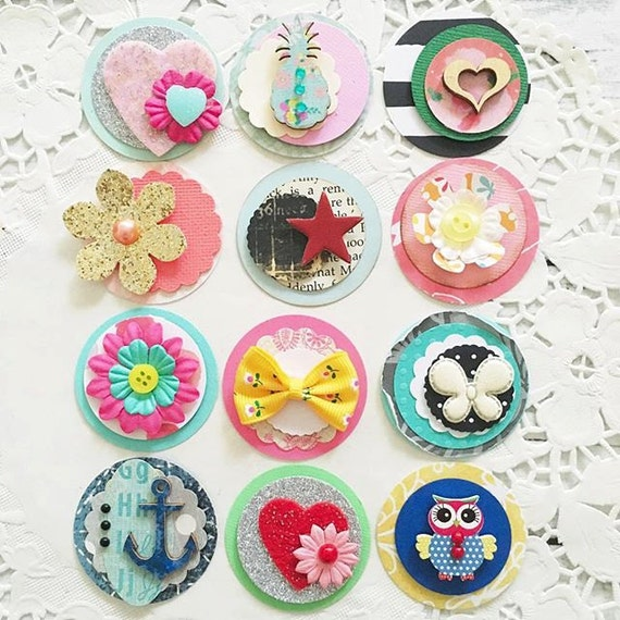 Cute Circle Embellishments - Paper Pretties set of 10, flowers, butterflies, hearts, Papercrafts, Scrapbooks, Cards