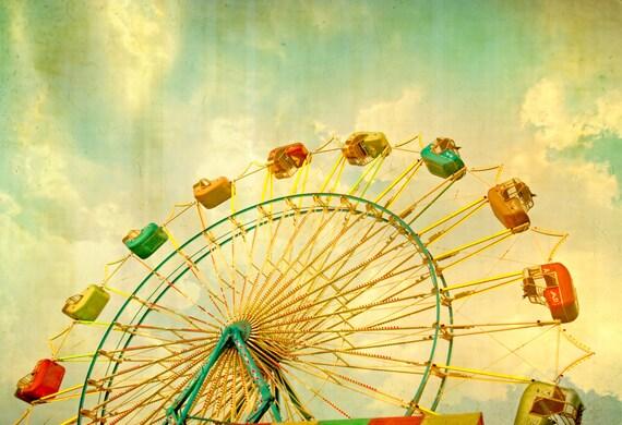 Carnival photography, Art For Children's Room Ferris wheel photo, large art, nursery decor, county fair, carnival art, fine art photography