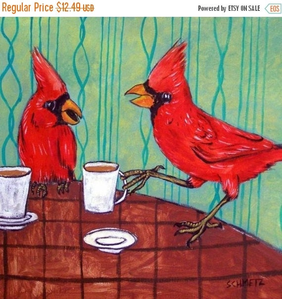 ON SALE Cardinals at the Cafe Coffee Shop Bird Art Tile Coaster