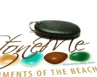 "Black Beach Stone Large Pebble Pendant ""SURF'S UP"" Charm Tribal Jewelry Key Chain Fob Natural Find River Rock Surfer Ebony Oval"