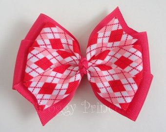 Pink Argyle Bow - Valentines Day Double Pinwheel - No Slip Velvet Grip Hair Clip