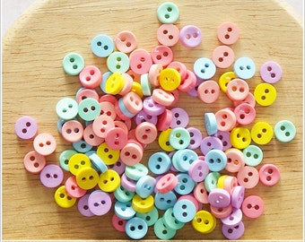 50 pcs Tiny Round Buttons Mixed Color Supply - Pastel Color -